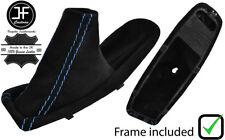BLUE STITCH SUEDE HANDBRAKE BOOT + PLASTIC FRAME FOR BMW E90 E91 E92 E93 06-13