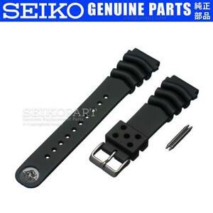 Genuine Seiko Z22 Watch Band Diver SKX171 SKX173 22mm Black Rubber Curved Vent