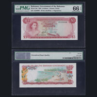 Bahamas 3 Dollars, 1965, P-19a, PMG EPQ 66, Good number, UNC