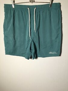 RVCA Mens Teal Drawstring Shorts Size 36 Swim Casual Elastic Waist