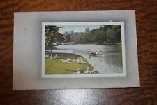 Vintage Postcard Lake with Boat and Geese / Free Ship b