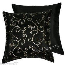 2 Thai Silk Decorative Pillow Cushion Cover Throw FS Black