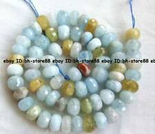 7x10MM Natural Aquamarine Cut Faceted Gemstone Rondelle Oblate Beads 15.5''
