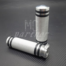 """1"""" Silver CNC Knurled Handlebar Hand Grips For Harley Touring Softail XL883 1200"""