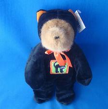 """10"""" teddy bear wearing his Halloween black cat hoody suit GAC 1999"""