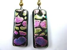 EARRINGS ENGRAVED PINK PURPLE DICHROIC FUSED STAINED GLASS DANGLES  LJG&AAG#429