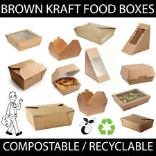 More details for brown kraft cardboard container food box takeaway salad burger wedge compostable