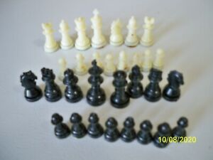 small magnetic black & white chess pieces -missing white knight