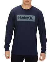 Hurley Mens T-Shirt Navy Blue Size Small S Boxed Logo Graphic Tee Crewneck 037