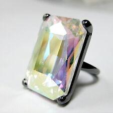 Gun Metal Tone Aurora Borealis Crystal Rhinestone Cocktail Ring (Size # 6.5)