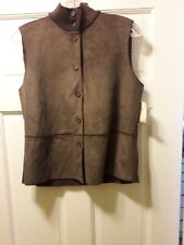 J. JILL 2002 Size S Brown Vest Sueded Front Ribbed Sweater Back