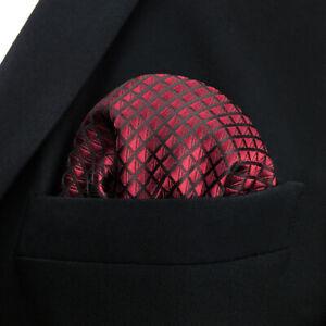 SHLAX&WING Solid Red Silk Pocket Square Mens Handkerchief Hanky Business Wedding