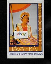 NETHERLANDS & INDIAN STATE RAILWAYS JAVA & BALI ISLES OF ROMANCE 1930'S POSTCARD