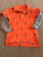 New Baby Gap Orange Skull Layered Long Sleeve Shirt Size 12-18m