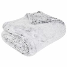 Luxuries Shimmer Fleece Throw, 150cm x 200cm Faux Fur Warm Blanket Throws, Grey