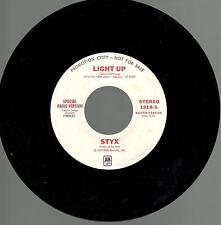 Styx, Light Up; Pr Mono/Stereo 45 Record