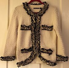 MICHAEL SIMON Knitted Blazer Sweater Suit Jacket Top Ribbon Embellishment Wmen M