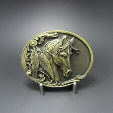 Rodeo Horse Head Antique Bronze Plated Cowboy Western Metal Belt Buckle