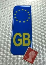 1 x Euro GB Number Plate Blue Sticker Super Shiny Domed Resin Finish