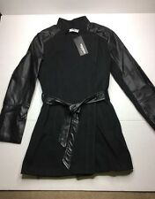 Womens Zip Lapel Leather Sleeve Patchwork Wool Trench Coat Size Small