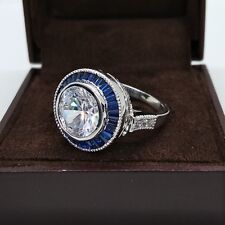 Art Deco Engagement Ring 925 Silver 4.60Ct Round Cut Diamond & Sapphire Antique