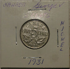 Canada 1931 nickel 5c 5 cent coin Geroge V