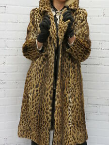 GORGEOUS! real SPOTTED TAWNY german made FUR COAT!   md petite fit