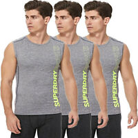 Superdry Mens Tanks Vest Sleeveless Atheltic Tank Gym Running Vests Top Grey