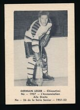 """1951-52 Laval Dairy (QSHL) #26 GERMAIN """"RED"""" LEGER (Chicoutimi)"""