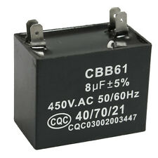 CBB61 8uF 450V AC 50/60Hz Air Conditioner Fan Motor Running Capacitor DT