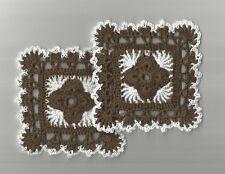 "2 Crochet Doilies Small Lace Fudge Brown 4"""