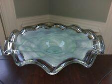 Vtg Lavorazione Arte Murano Hand Blown Glass Bowl Venetian Mint Green Amano M