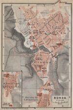 RONDA antique town city ciudad plan. Spain España mapa. BAEDEKER 1913 old