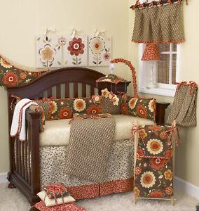10 Piece Crib Bedding Baby Girl Country Floral Garden Brown Orange Yellow
