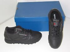 Reebok Classic Leather Walking Training Black Sneakers Shoes Mens 6.5 / Womens 8