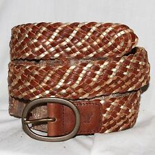 "American Eagle brown gold Leather braided Belt size S/M 34 & 1¾"" Wide w buckle"