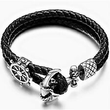 Bangle Bracelet Genuine Braided Leather, Quality Stainless Steel Anchor, Black