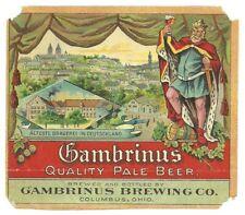 Gambrinus Quality Pale Beer label, pre pro, Columbus, Ohio, pre- Irtp, 1900