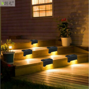 Outdoor solar step lamp LED Waterproof stair garden Yard fence wall lamp deco