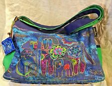 LAUREL BURCH HANDBAG COLORFUL BEADED DOGS SHOULDER BAG ZIPPERS CLOSED EXC COND
