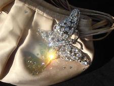 Stunning Karen Millen butterfly crystal champagne beige satin small evening bag