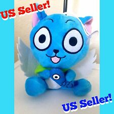 "7"" Fairy Tail Sitting Happy Winged Exceed Cat & Fish Plush Doll Figure KAWAII"