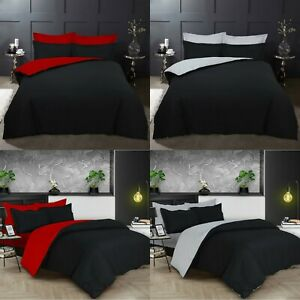 EGYPTIAN COTTON T200 REVERSIBLE DUVET COVER SET WITH 4 PILLOW CASES BEDDINGS