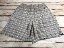Basic Editions Womens Size 16 Plaid Dress Shorts Beige Tan Pleated Pockets