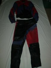 Joe Rocket leather 2 piece zippered jacket and pants Red Purple Black