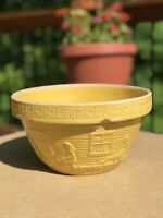 """Yellow 9"""" Pottery Mixing Bowl Girl Watering Can Garden Windows Flowers"""