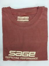 SAGE FISHING VINTAGE WASH T-SHIRT  CHERRY RED  - SIZE  LARGE  CLOSEOUT