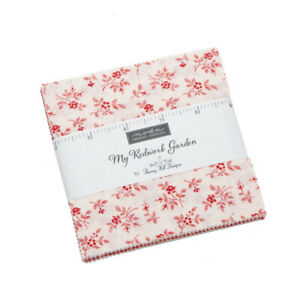 """FABRIC Moda Charm Pack ~ MY REDWORK GARDEN ~ Bunny Hill 42 - 5"""" squares"""