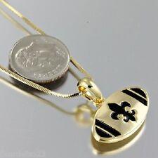 Gold & Black Enamel Fleur de lis New Orleans Saints Football Necklace