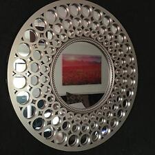 LARGE SILVER round wall mirror Bath Overmantel moroccan Round Wall mirror 63cm